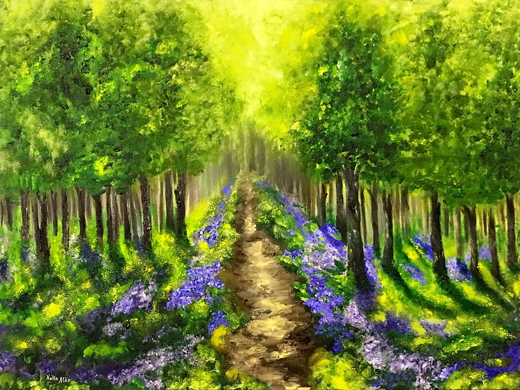 the path to the eden secret garden forest woodland magic blubells trees light and shadows contemporary art landscape beautiful painting romantic peacefull relaxing fine art