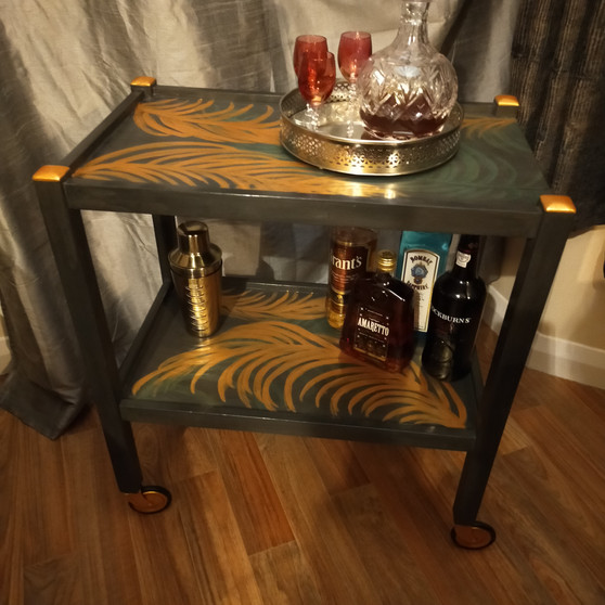 Drinks Trolley hand painted tropical leaves