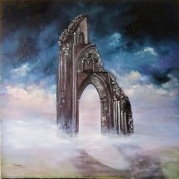 Mystic, Abbey, Glastonbury, Ruins, Magical, place, King Arthur, Legendary, History, legents, epic, dramatic, painting, oil on canvas, art for sale, Impressive, fine art, art online, sale, interiors design, home, decor, unique, art collectors, best art, archictetural, dramatic sky, clouds, mist, fog, Singulart, fine art gallery, Castle fine art, gallery online, Saatchi art,