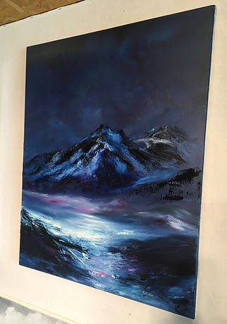 mountain, Himalaias, Himalayas, beautiful mountain, high mountain, mountain with ice, glacier, mountain painting, mountain contemporary painting, abstract expressionism painting original fine art for sale affordable direct from artist decor wall impressive painting blue purple black white dramatic landscape texture