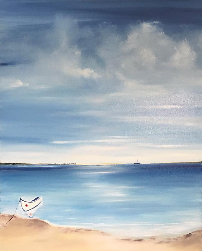 lusitano, boat, beach, portugal, algarve, faro, ria de faro, praia de faro, praia do algarve, algarve beach, barco de pesca, barco na praia, pintura a oleo, art for sale, calm seascape, relaxing painting, blue sky, blue sea, calm sea, boat refletion on water, sailling, ocean,