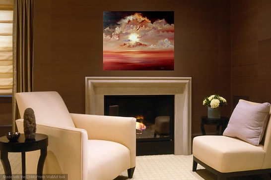 Passion of the Sun seaset contemporary modern traditional original loil on deep canvas large painting fine art warm colours posh living room  interior design