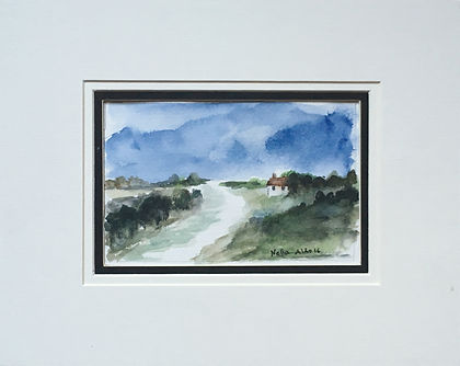 Original art Original art painting Watercolour little cottage Landscape countryside