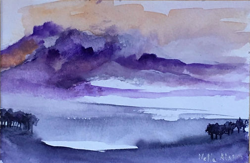 Original art painting Watercolour on paper Landscape purple Highlands