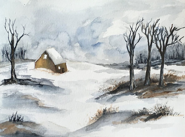 Winter has arrived II watercolour art painting original winter landscape snow in countryside