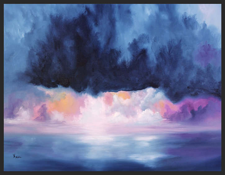 storm in sea, storm in sea painting, clouds reflection on water, beautiful clouds painting, clouds blue purple orange, warm sky, warm sky paintin of Fine Art, Original Abstract Oil Painting on Cotton Stretched Canvas  for sale. Power and energy, soft and delicate is Essence of Seas. Beautiful reflection of the light and clouds on water, a beautiful match of colours in Prussia blue, white , pink, orange and purple. The storm in sea, ocean painting, sky warm colours, pink clouds, pink clouds painting, purple sky,