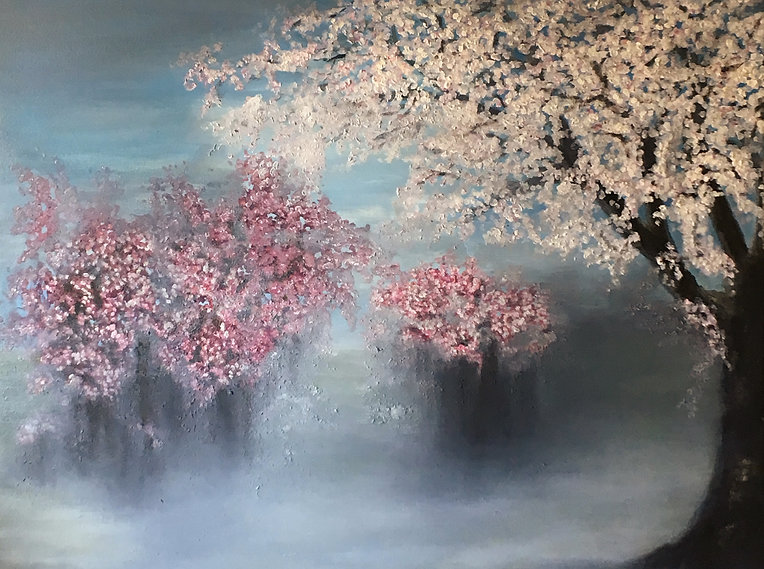 original oil painting, canvas, painting, landscape, japan, blossom, blossom trees, misty morning, mist, landscape, fog, garden, desert , landscape painting, Nella Alao artist, mountain, clouds, sky with clouds,  moon, sky, sea, water, enseada, cove, ocean, costal, lake, loch landscape, seascape, abstract landscape painting, abstract landscape, abstract seascape, landscape painting, famous artist, abstract landscape painting canvas, abstract landscape art, desert mountains, middle east mountains, desertic mout, garden, japanese garden, impasto painting, pallete knife painting, texture, pink, white, grey, blue, black, soft colours, soft colors, pastel colours, beautiful painting, blossom painting, blossom oil painting, contemporary art, art gallery, best paintings fine art, best paintings, beautiful trees, romantic painting, best gift, wedding gift, light,