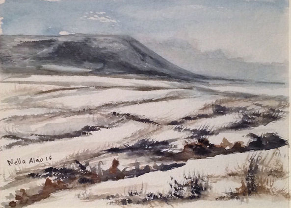 First Snow in Pendle Hill I watercolour art painting original winter landscape snow in countryside