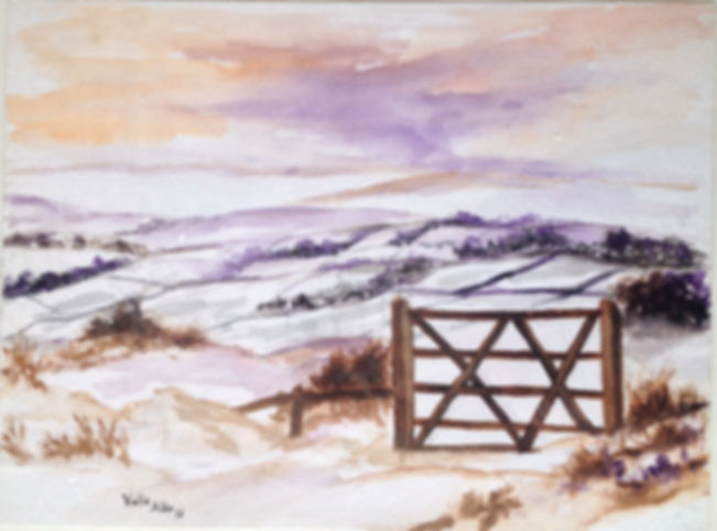 Beautiful winter watercolour art painting original winter landscape snow in countryside