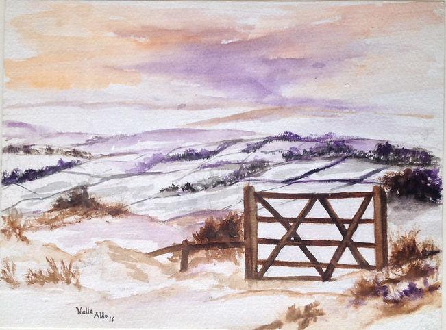 Beautiful winter watercolour art painting original winter landscape snow in countryside