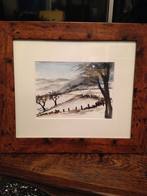 watercolour painting winter landscape trees snow hills mountain