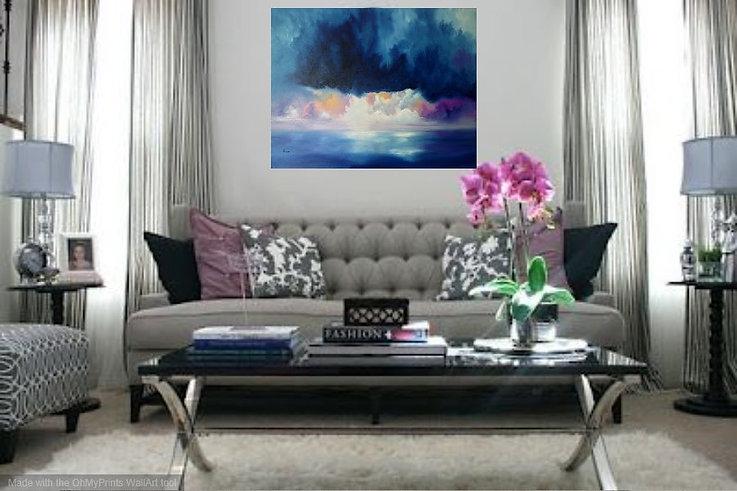 luxury interior design living room, painting on wall luxury interior design, best paintings for a luxury home, sophisticated painting, sophisticated landscape painting, storm in beach, storm in beach painting, abstract seascape oil painting,