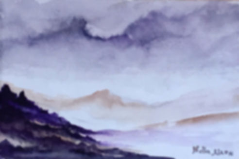 Watercolour painting Landscape of the mountains in Highlands purple land and sky
