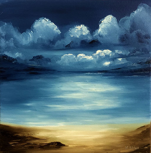 Beach at night meeting with Gods oil on canvas art painting landscape seascape coat night
