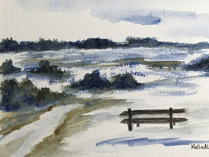Original art painting Watercolour on paper Landscapelonely bench in  Meadows