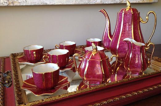 Hand painted Coffee set 6 people in porcelain details decor in Gold