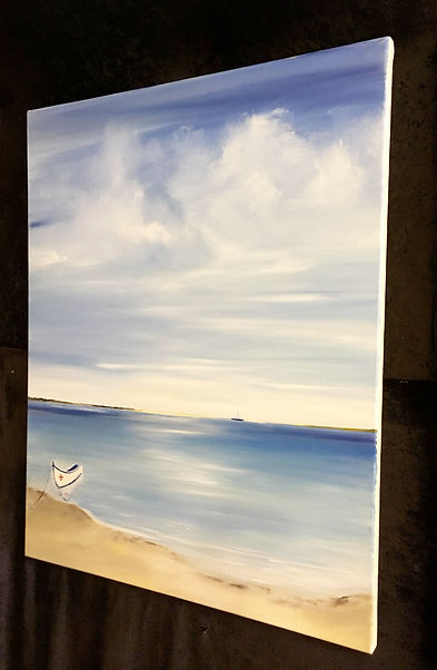 painting in studio Nella Alao, little boat, fishing boat, seascape painting, calm seascape, seascape Algarve, Algave image, Ria Formosa, Faro, beach painting, sandy beach, contemporary seascap painting, best painting
