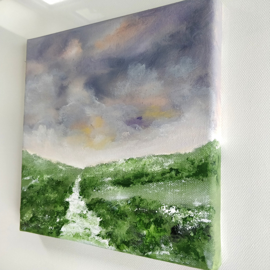 beautiful painting of the winter fine art oil on canvas, south downs, sussex coutryside
