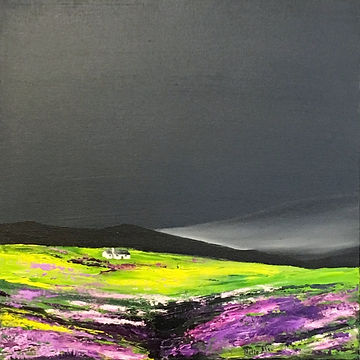 Heather, mountain,heather landscape, scotthish heather, scotland landscape mountain, scotish cottage,  contemporary art, Nella Alao art, walking in scotland, filds with heather, rocks,