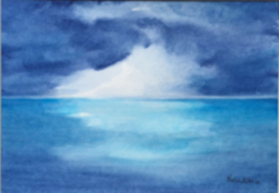 Window into Heaven watercolur art painting dramatic atmospheric seascape semi abstract