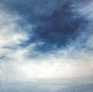 Original contemporary painting, oil on canvas sky painging, Semi-Abstract landscape, seascape, clouds, storm, light, dark, original fine art,  beautiful and relaxing, artist painter Nella Alao ,art painting for sell, affordable art for sale, unique painting, original seascape blue white painting, home decor, decor your home, paintings wall,