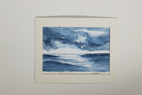 "Original watercolour painting "" Dramatic sky at the cove"""