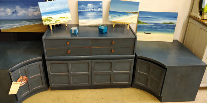 3 Pieces Nathan Retro Middle Century Cabinet
