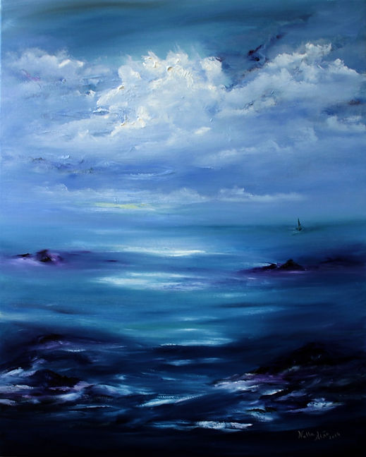 Beautiful original oil painting in blue purple and white seascape sailling boat reflex of clouds in water texture