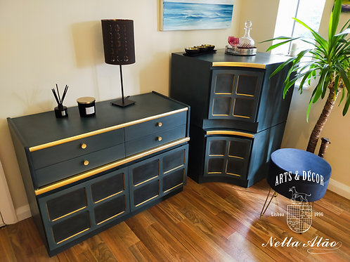3 pcs Chic Retro Nathan cabinets, sideboard. Upcycled and Restyled