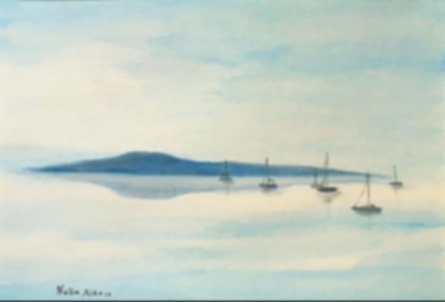 Watercolour art painting Serenity seascape boats selling sea island calm water