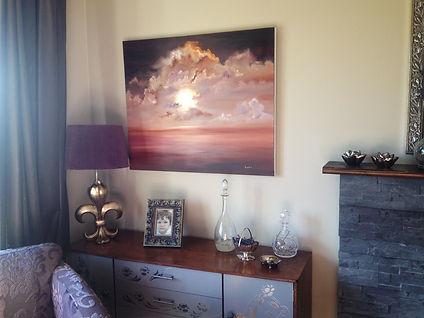 Beautiful large original oil on deep canvas wall decor hight quality sun sunset sky clouds red orange brown rose purple lilac intense bright light
