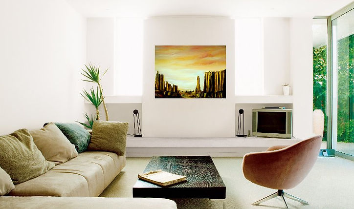 modern interior design, painting in modern decor, desert landscape, desert painting, modern art, Golden, desert, original oil painting, painting international artist, fine art, painting, large deep canvas painting, beautiful wall painting, decor interior design warm colours, yellow red orange brown rich sky palette knife art for sale