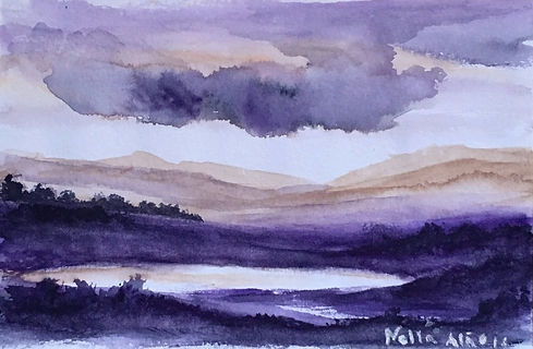 Watercolour on paper Landscape small loch lake with mountains and purple sky