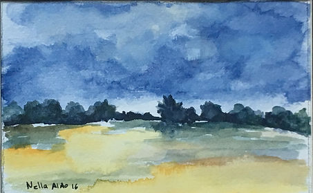 Original art painting Watercolour on paper Landscape field in spring