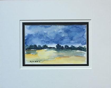 Original art painting Watercolour on paper Landscape with mount