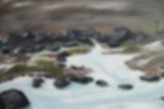 detail oil painting fine art original rocks snow water melting ice winter landscape artist painter Nella Alao