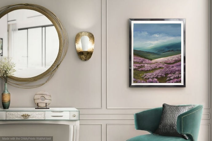 Spring arrive in Moors original oil on canvas landscape moors yorkshire dales lake district peack district cumbria beautiful heather colours pink blue posh interior modern design