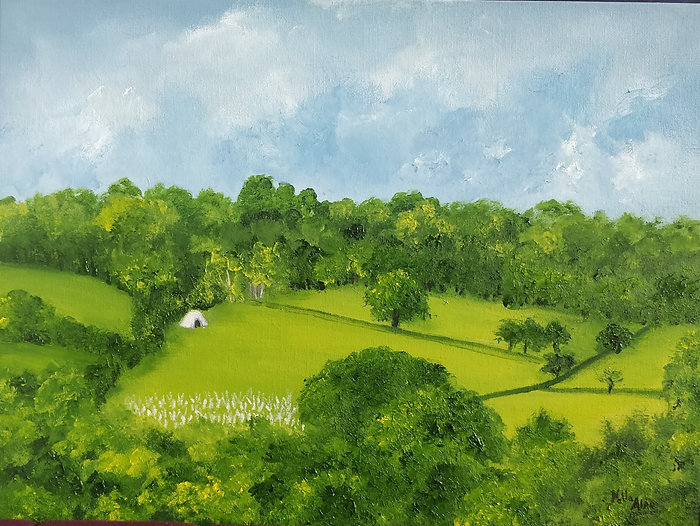 landscape view, Mill View, Blackboys, Sussex, area of outstanding natural beauty, gun road, farm landscape, farms, forest landscape painting, sussex painting, blacboys painting, english countryside painting, sussex artist, sussex art, east sussex landscape, east sussex landscape painting
