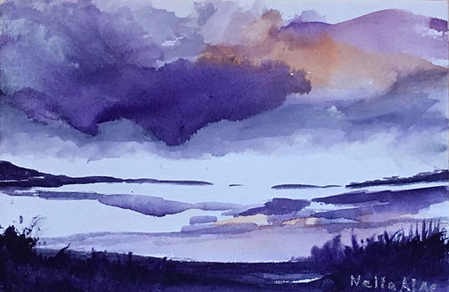 Watercolour on paper Landscape purple clouds aproached in a purple lake