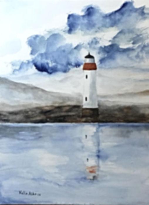 Watercolour Landscape, Marine, Lighthouse art painting