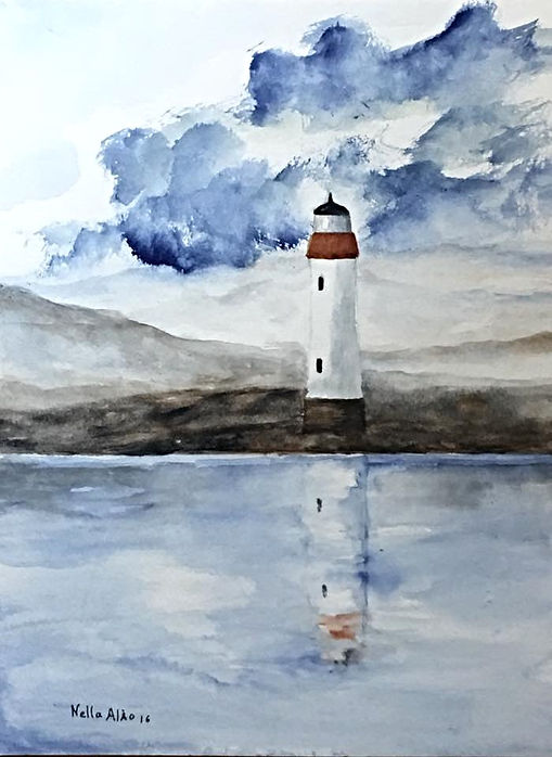 Watercolour Landscape, Marine, Lighthouse art painting