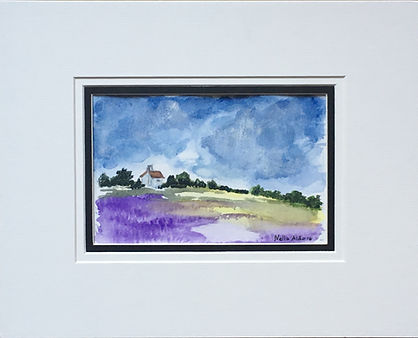 Original art painting Watercolour on paper Landscape purple field of lavender