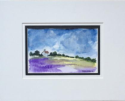 Original art painting Watercolour on paper Landscape purple field of lavender