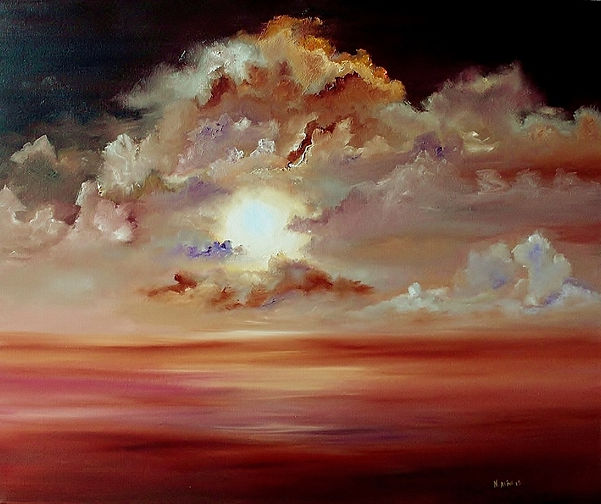 Sunset, clouds, dramatic painting, original oil on canvas, A beautiful intense Sunset with Sun full of light, Semi-Abstract, landscape, seascape warm colours clouds around the sun making a good contrast in colours and movement in a calm sea. Orange, red, yellow, brown, purple, dark red, rose, and white is the colours are making this a great painting. Ready to hang.