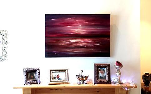beautiful painting red aubergine purple light sky sea earth reflection strong landscape seascape storm waves clouds night dark rose pink dark orange