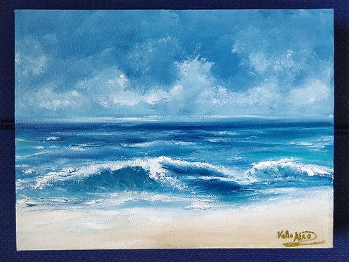Crashing waves, original oil painting