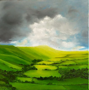South Downs landscape original painting, oil painting Sussex landscape