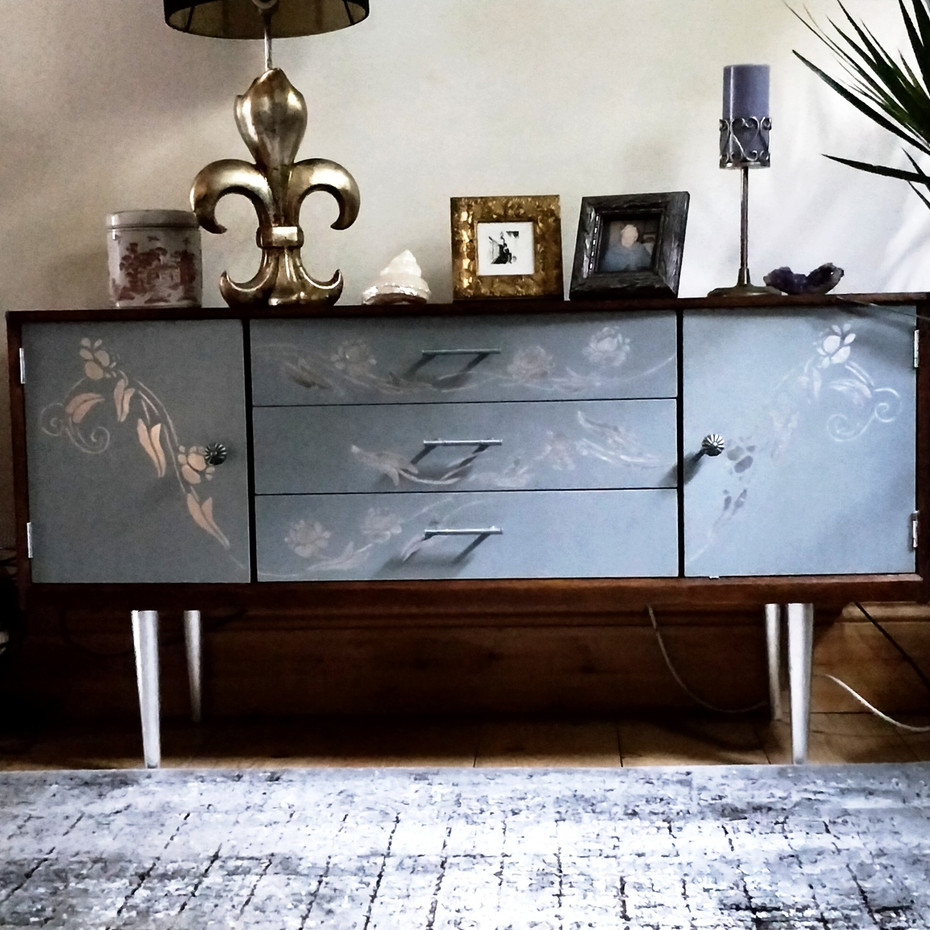 Retro Midcentury Sideboard Cabinet, for sale, beautiful cabinet, sideboard, unique, luxury furniture, hand finish, decor, home, house decor, luxury homes.