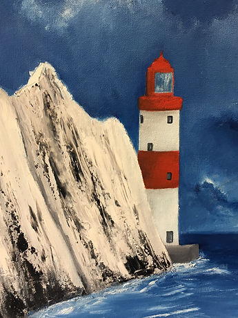 Lighthouse,Isle of Wight  Lighthouse, Needles and Lighthouse, Lighthouse painting, Lighthouse oil painting, Isle of Wight, Needles Lightouse, Needles, Lighthouse, Isle of Wight,