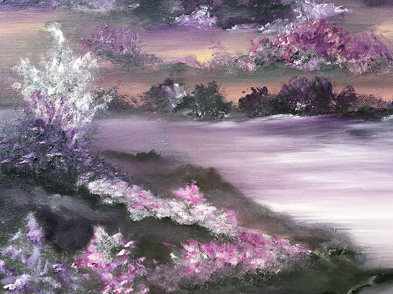 purple, amethyst, magenta, rose, purple colours, magic field, romantic landscape, contemporary art, flowers in purple,